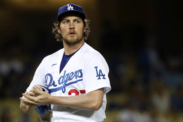 LOS ANGELES, CALIFORNIA - JUNE 12: Trevor Bauer #27 of the Los Angeles Dodgers looks on after giving up a hit to Joey Gallo #13 of the Texas Rangers during the fifth inning at Dodger Stadium on June 12, 2021 in Los Angeles, California. (Photo by Katelyn Mulcahy/Getty Images)