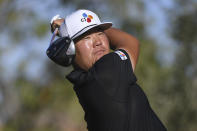 Sungjae Im watches his drive during the Shriners Children's Open golf tournament, Sunday, Oct. 10, 2021, at TPC Summerlin in Las Vegas. (AP Photo/Sam Morris)