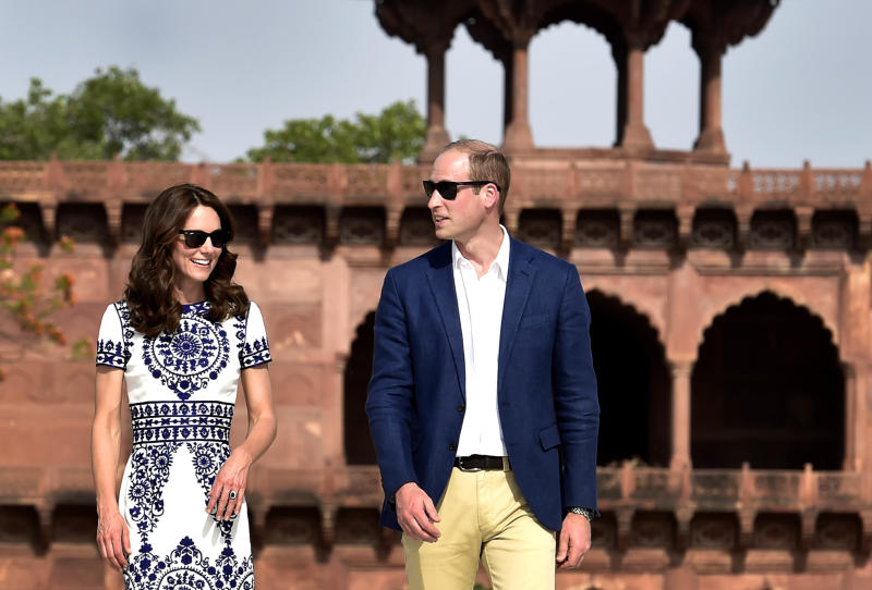 Clearly happy, but keeping some distance during their April 2017 visit to the Taj Mahal. (Hindustan Times via Getty Images)