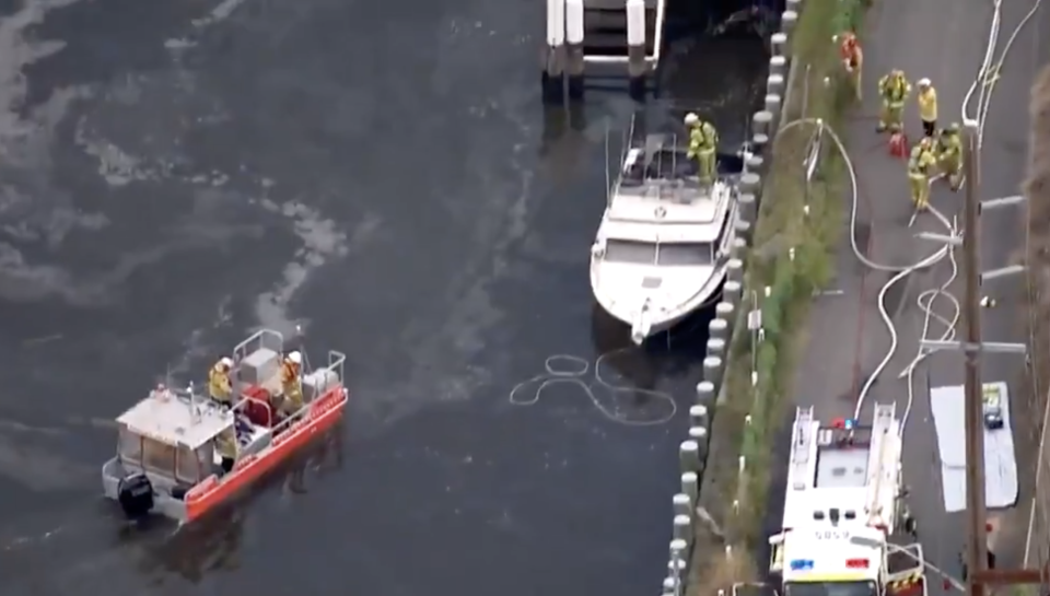 Fire and Rescue NSW at the scene of a boat fire on the Hawkesbury River.