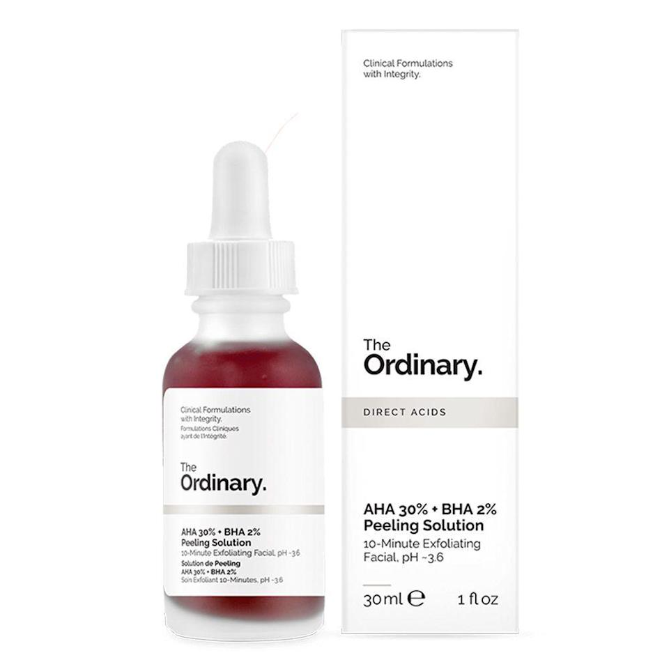"""<p><strong>THE ORDINARY</strong></p><p>amazon.com</p><p><strong>$16.49</strong></p><p><a href=""""https://www.amazon.com/dp/B071D4D5DT?tag=syn-yahoo-20&ascsubtag=%5Bartid%7C2089.g.33534382%5Bsrc%7Cyahoo-us"""" rel=""""nofollow noopener"""" target=""""_blank"""" data-ylk=""""slk:Shop Now"""" class=""""link rapid-noclick-resp"""">Shop Now</a></p><p>No, it's not just you — we've <em>all</em> been <a href=""""https://www.tiktok.com/@kaelynwhitee/video/6821649984233032965"""" rel=""""nofollow noopener"""" target=""""_blank"""" data-ylk=""""slk:seeing people on TikTok"""" class=""""link rapid-noclick-resp"""">seeing people on TikTok</a> slathering this blood-red skin treatment on their faces (<a href=""""https://www.bestproducts.com/beauty/a32390376/the-ordinary-peeling-solution-review/"""" rel=""""nofollow noopener"""" target=""""_blank"""" data-ylk=""""slk:even our own parenting editor tried it out"""" class=""""link rapid-noclick-resp"""">even our own parenting editor tried it out</a>!). But this under-$20 solution is no joke: It's packed to the brim with exfoliating <a href=""""https://www.healthline.com/health/aha-vs-bha#shared-benefits"""" rel=""""nofollow noopener"""" target=""""_blank"""" data-ylk=""""slk:alpha and beta hydroxy acids"""" class=""""link rapid-noclick-resp"""">alpha and beta hydroxy acids</a> to rid your pores of any impurities, all in just 10 minutes. </p>"""