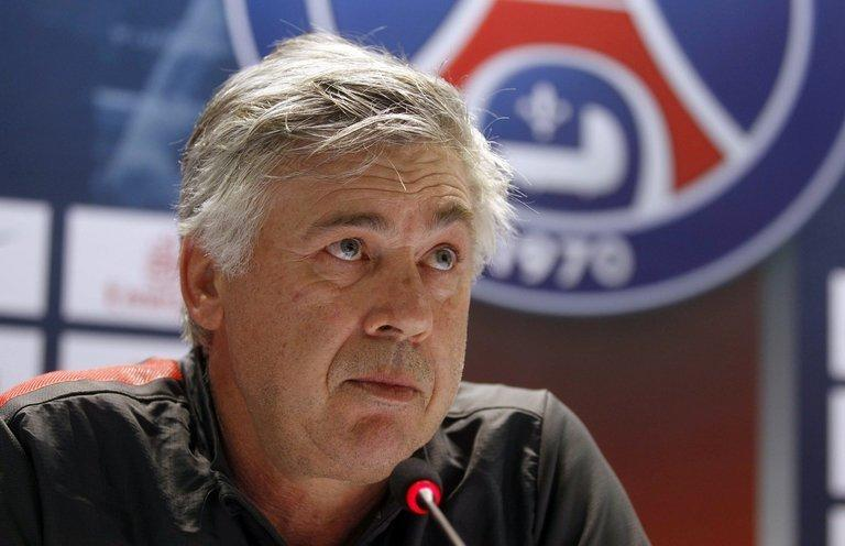 Paris Saint-Germain's Italian coach Carlo Ancelotti holds a press conference at the Aspire Academy of Sports Excellence in the Qatari capital Doha on December 29, 2012. Ancelotti has ruled out any further signings during the January transfer window, saying the arrival of Brazilian starlet Lucas Moura would suffice