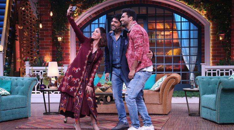 vicky kaushal, yami gautam on the sets of the kapil sharma show