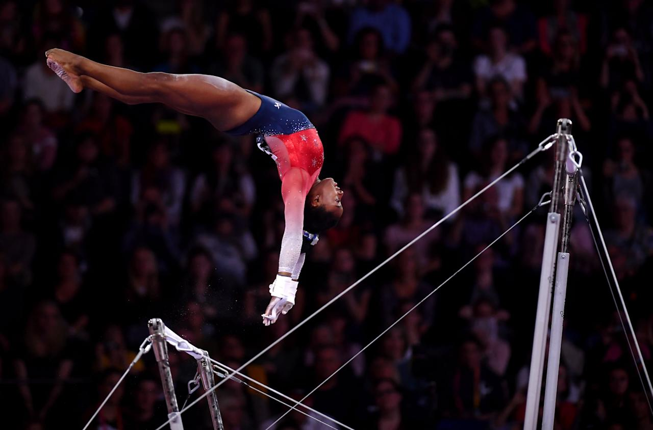 <p>The uneven bars are Simone's weakest apparatus, with only one medal - a silver in 2018 - at the World Championships so far. It's also the only event for which she doesn't have an Olympic medal.</p>