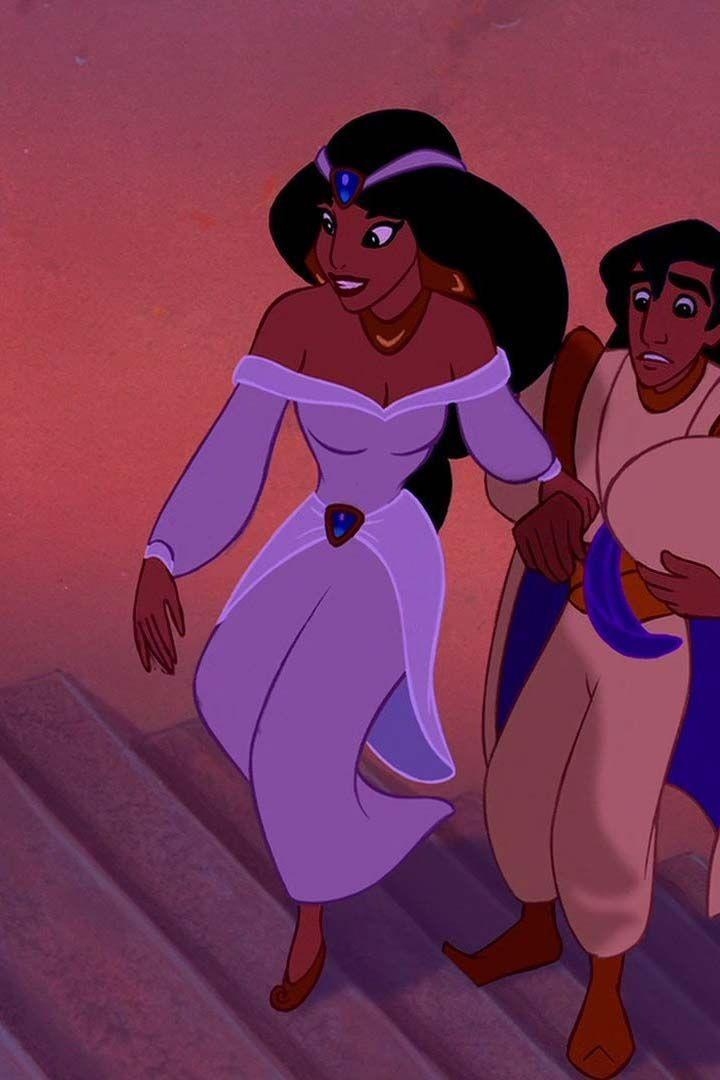 <p>When Jasmine's engagement is announced, she wears a pale-purple gown with an off-the-shoulder neckline.</p>