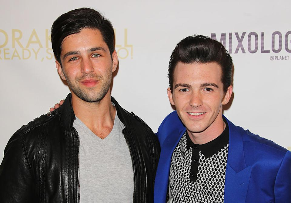Actor Josh Peck (L) and Drake Bell (R) attend Drake Bell's album release party for 'Ready Steady Go!' at Mixology101 & Planet Dailies on April 17, 2014 in Los Angeles, California. (Photo by Paul Archuleta/FilmMagic)