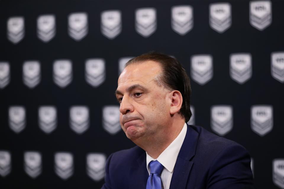 ARLC Chairman Peter V'landys (pictured) speaks to the media during an NRL press conference at NRL headquarters on March 23, 2020 in Sydney, Australia.