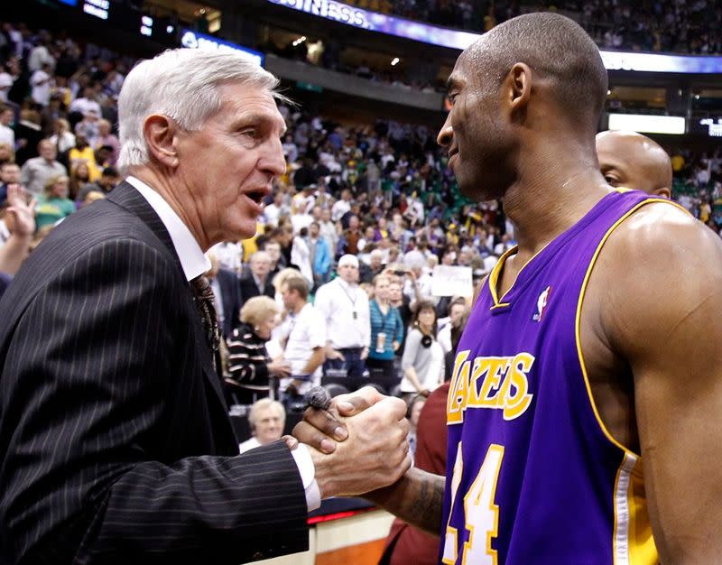 Los Angeles Lakers guard Kobe Bryant shakes hands with Utah Jazz head coach Jerry Sloan after sweeping the Jazz following Game 4 of their NBA Western Conference semi-final playoff series in Salt Lake City