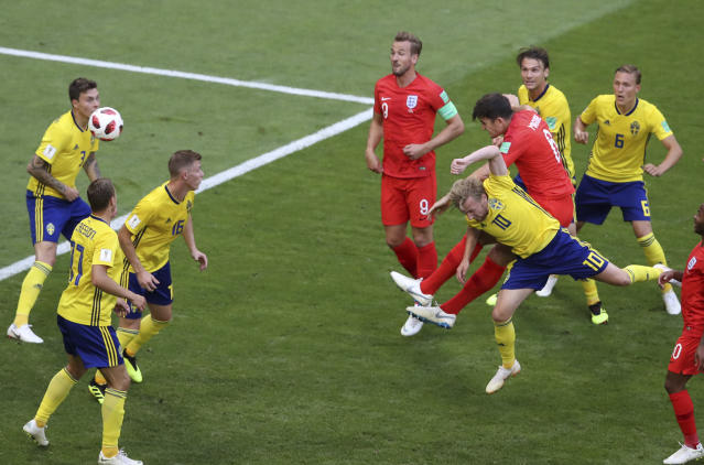 <p>Harry Maguire heads England into the lead </p>