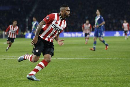 FILE PHOTO: Jurgen Locadia celebrates a goal at a Champions League soccer match in Eindhoven, Netherlands November 3, 2015. REUTERS/Michael Kooren