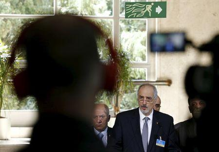 Syrian government's head of delegation Bashar Ja'afari attends a news conference after a meeting on Syria at the United Nations in Geneva, Switzerland, April 22, 2016. REUTERS/Denis Balibouse