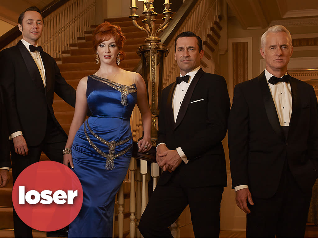 Bertram Cooper (Robert Morse), Pete Campbell (Vincent Kartheiser), Joan Harris (Christina Hendricks), Don Draper (Jon Hamm) and Roger Sterling (John Slattery) - Mad Men - Season 6