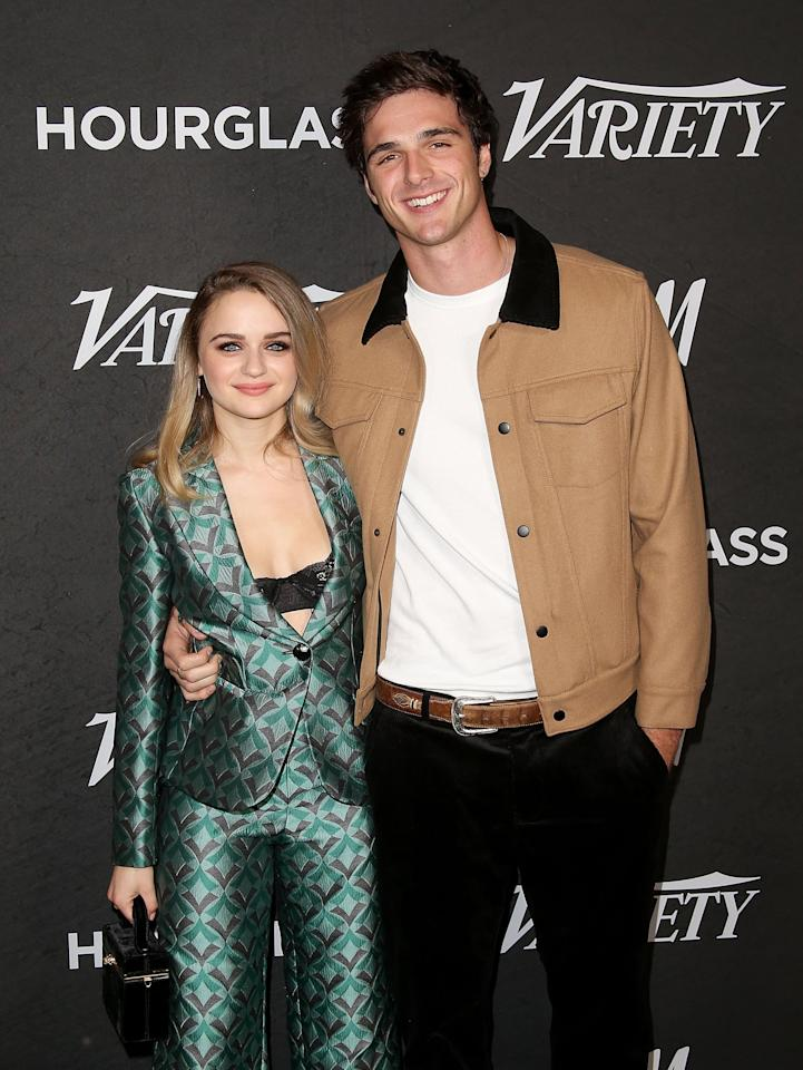 "<p>Jacob first met <a class=""sugar-inline-link ga-track"" title=""Latest photos and news for Joey King"" href=""https://www.popsugar.com/Joey-King"" target=""_blank"" data-ga-category=""internal click"" data-ga-label=""https://www.popsugar.com/Joey-King"" data-ga-action=""body text link"">Joey King</a> when they played love interests in <strong><a href=""https://www.popsugar.com/latest/The-Kissing-Booth"" class=""ga-track"" data-ga-category=""internal click"" data-ga-label=""http://www.popsugar.com/latest/The-Kissing-Booth"" data-ga-action=""body text link"">The Kissing Booth</a></strong> in 2017, and it didn't take long for a romance to develop off screen. The pair dated for about two years before calling it quits. Although it's unclear why they split, they eventually reunited for <strong>The Kissing Booth 2 </strong>in 2020, where <a href=""https://www.popsugar.com/celebrity/did-joey-king-jacob-elordi-break-up-before-kissing-booth-2-47637945"" class=""ga-track"" data-ga-category=""internal click"" data-ga-label=""http://www.popsugar.com/celebrity/did-joey-king-jacob-elordi-break-up-before-kissing-booth-2-47637945"" data-ga-action=""body text link"">they played love interests again</a>. </p>"