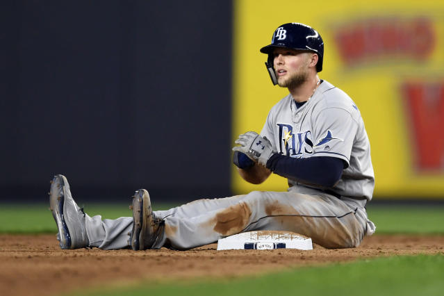 Tampa Bay Rays' Austin Meadows reacts after being caught while trying to steal second by New York Yankees second baseman Gleyber Torres during the sixth inning of a baseball game, Monday, June 17, 2019, in New York. (AP Photo/Sarah Stier)