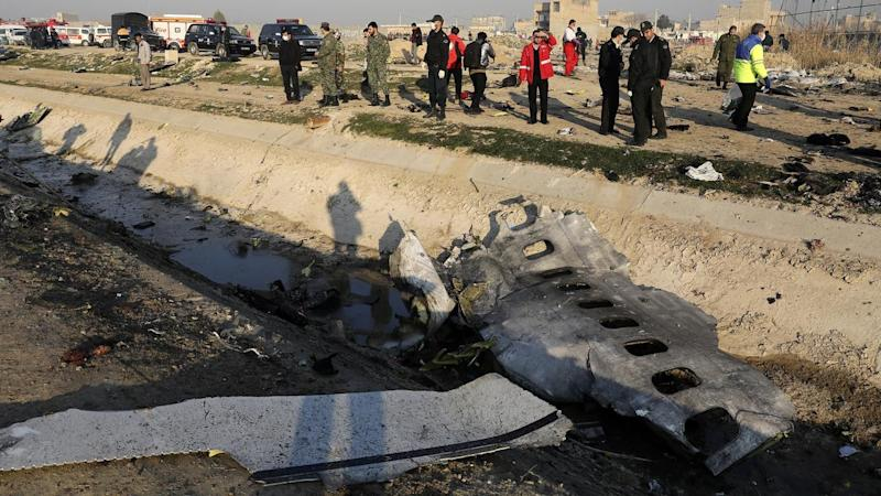 Debris of a Ukrainian plane that crashed after being hit by an Iranian missile, killing 176 people