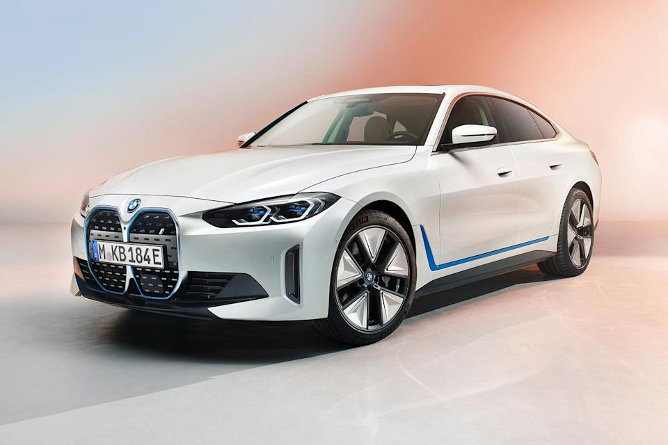BMW's new i4 electric sedan shot from the front left