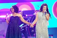 <p>Gladys Knight and Mickey Guyton perform at the 2021 CMT Music Awards at the Bridgestone Arena on June 9 in Nashville.</p>