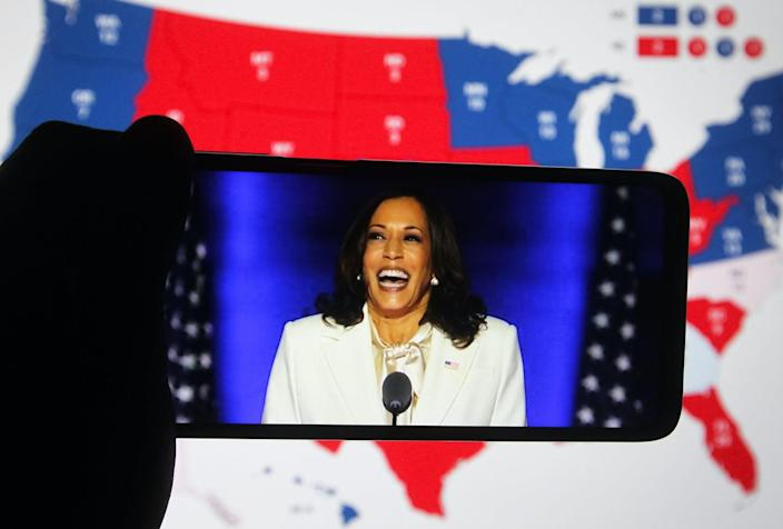 """<span class=""""caption"""">Harris isn't actually the first Black woman to run for vice president of the United States.</span> <span class=""""attribution""""><a class=""""link rapid-noclick-resp"""" href=""""https://www.gettyimages.com/detail/news-photo/in-this-photo-illustration-the-us-democratic-vice-news-photo/1229538568?adppopup=true"""" rel=""""nofollow noopener"""" target=""""_blank"""" data-ylk=""""slk:Photo Illustration by Pavlo Conchar/SOPA Images/LightRocket via Getty Images"""">Photo Illustration by Pavlo Conchar/SOPA Images/LightRocket via Getty Images</a></span>"""