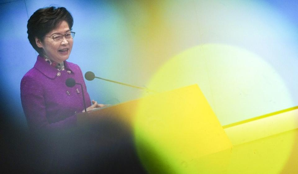 Chief Executive Carrie Lam attends a press conference on the policy address in Tamar on Wednesday. Photo: Felix Wong