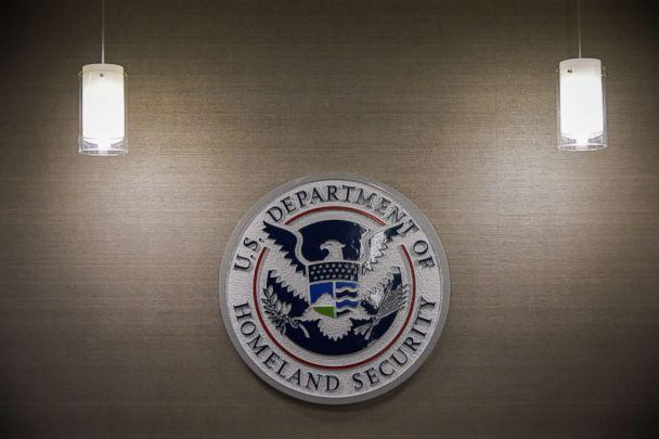 PHOTO: U.S. Department of Homeland Security logo is seen inside press conference room, May 11, 2017, at the U.S. Immigration and Customs Enforcement headquarters in Washington, D.C. (Salwan Georges/The Washington Post via Getty Images, FILE)