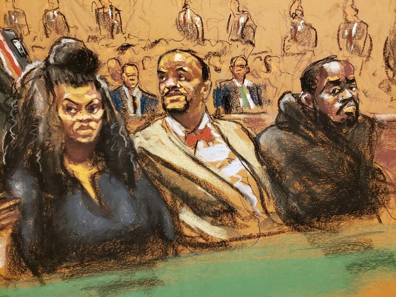Courtroom sketch shows Tova Noel sitting beside lawyer Montell Figgins and Michael Thomas
