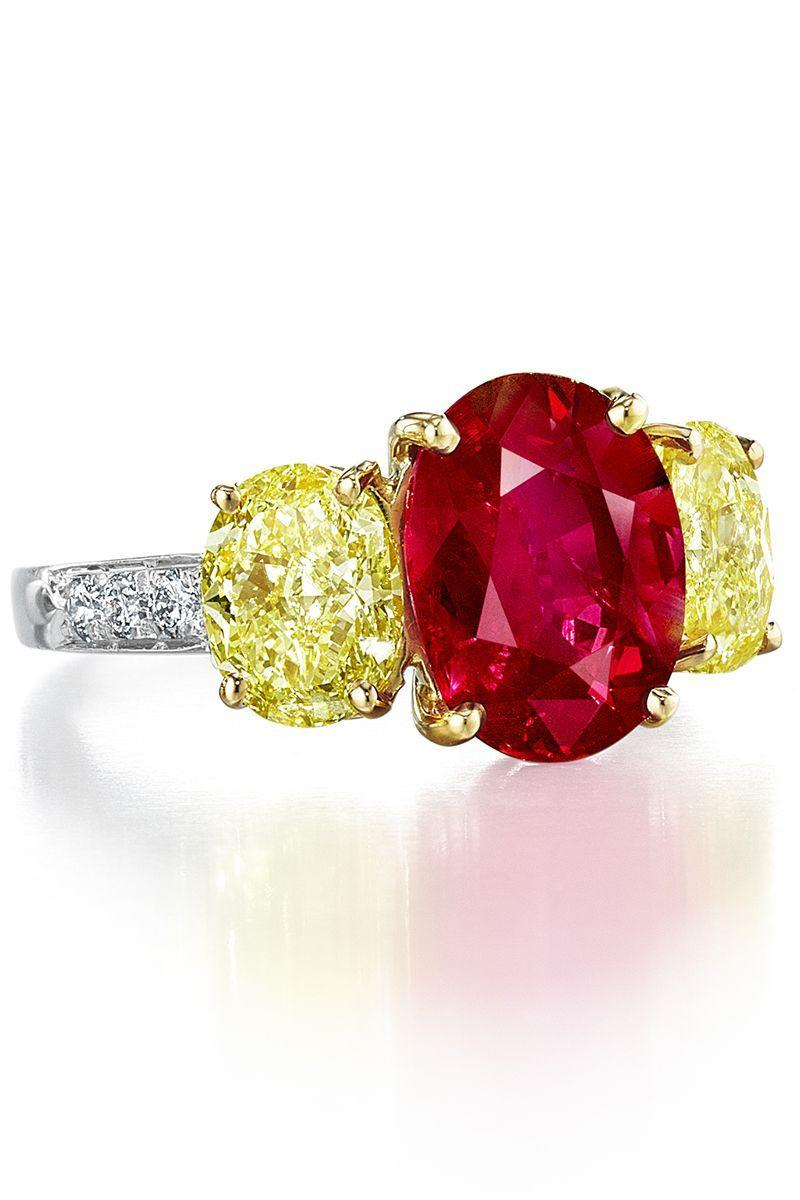 "<p>When it comes to colorful engagement pieces, go bold. Yellow and pink diamonds pair well with rubies, as do classic diamonds.</p><p><em>Ruby & fancy yellow diamond ring, price upon request,<a href=""http://www.oscarheyman.com"" rel=""nofollow noopener"" target=""_blank"" data-ylk=""slk:oscarheyman.com"" class=""link rapid-noclick-resp"">oscarheyman.com</a>.</em></p><p><a class=""link rapid-noclick-resp"" href=""http://www.oscarheyman.com"" rel=""nofollow noopener"" target=""_blank"" data-ylk=""slk:SHOP"">SHOP</a></p>"