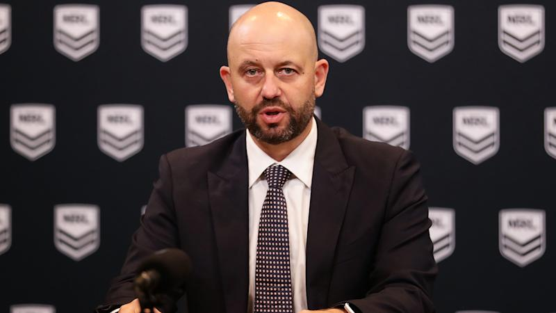 NRL CEO Todd Greenberg, pictured here speaking to the media about the coronavirus crisis.