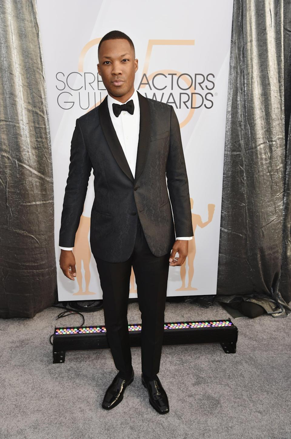 <p>Wearing a tux with a bow tie and Jimmy Choo shoes.</p>