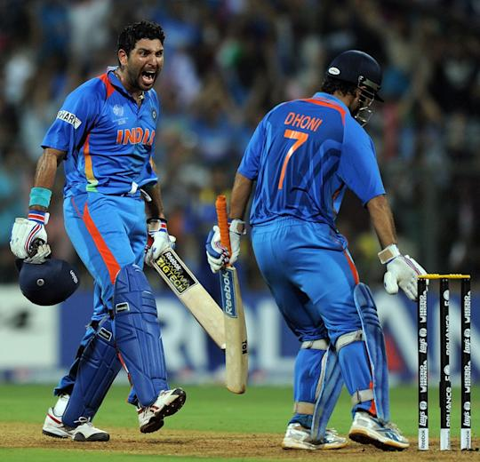MS Dhoni uproots stumps after taking India to victory in the World Cup 2011 final, which he had made a habit after taking his side to victory