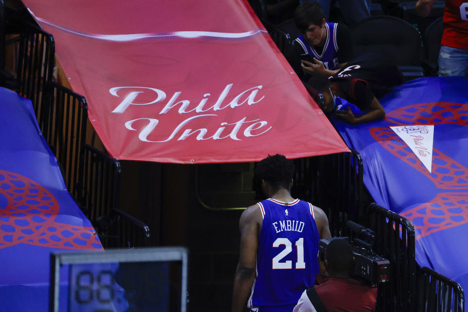Joel Embiid carried the Philadelphia Sixers to a Game 2 victory. (Tim Nwachukwu/Getty Images)