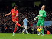 Raheem Sterling's goal is ruled offside against Manchester City. Liverpool lose 2-1. (26 December 2013)
