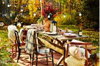"<p>If you're lucky enough to be celebrating Thanksgiving outdoors this year, take full advantage of what nature has to offer. For your centerpiece, add foliage in tall vases and a chic lantern for warmth. </p><p><a class=""link rapid-noclick-resp"" href=""https://www.amazon.com/Bright-Zeal-Distressed-Flickering-1202B/dp/B01LF2XFDK/ref=sr_1_4?dchild=1&keywords=black+lantern+for+candle&qid=1595446135&sr=8-4&tag=syn-yahoo-20&ascsubtag=%5Bartid%7C10055.g.1681%5Bsrc%7Cyahoo-us"" rel=""nofollow noopener"" target=""_blank"" data-ylk=""slk:SHOP LANTERNS"">SHOP LANTERNS</a></p>"