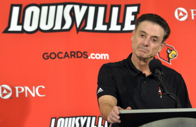 Louisville's Athletic Association officially fired coach Rick Pitino on Monday, Oct. 16, 2017, nearly three weeks after the school acknowledged that its men's basketball program is being investigated as part of a federal corruption probe. (AP)