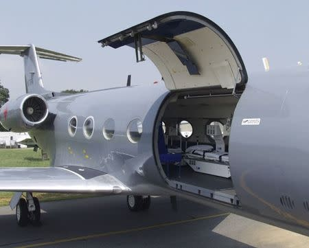 Handout of the Aeromedical Biological Containment System installed in a modified Gulfstream III aircraft