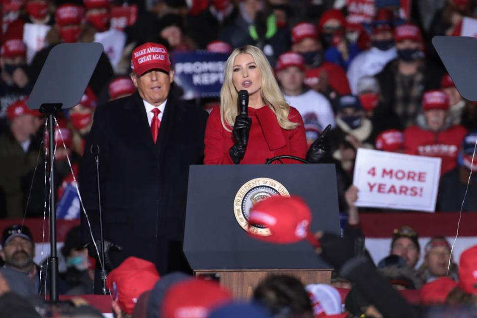 Image of Ivanka Trump and Donald Trump at Republican Election 2020 rally