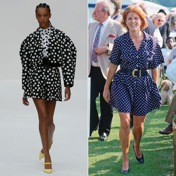 <p>Carolina Herrera's Spring runway also got the royal touch. This black-and-white cropped shorts set with strong sleeves pays homage to the '80s, and Sarah Ferguson, Duchess of York, belted a similar look at the Royal Berkshire Polo Club in the early '90s.</p>