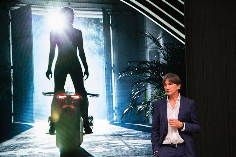 Head of BMW Motorrad Design, Edgar Heinrich, speaks at the unveiling of the BMW Motorrad VISION NEXT 100 concept motorcycle at the 'Iconic Impulses' event in Santa Monica, California, on October 11, 2016 (AFP Photo/David McNew)