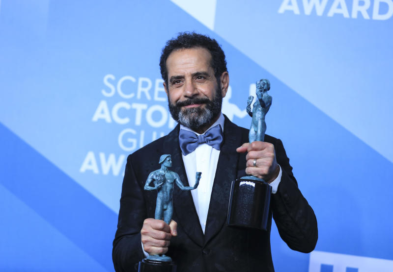 "LOS ANGELES, Jan. 20, 2020 -- Lebanese-American Tony Shalhoub poses for a photo with the award for Outstanding Performance by a Male Actor in a Comedy Series for ""The Marvelous Mrs. Maisel"" at the 26th Annual Screen Actors Guild Awards held at the Shrine Auditorium in Los Angeles, the United States, Jan. 19, 2020. (Photo by Li Ying/Xinhua via Getty Images)"