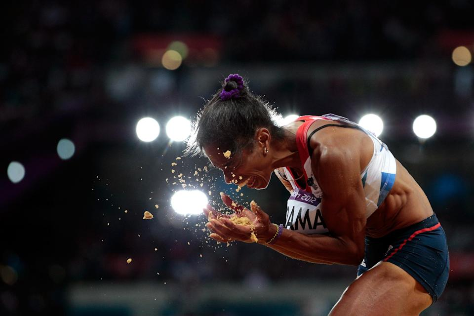 LONDON, ENGLAND - AUGUST 05: Yamile Aldama of Great Britain compete in the Women's Triple Jump final on Day 9 of the London 2012 Olympic Games at the Olympic Stadium on August 5, 2012 in London, England. (Photo by Adam Pretty/Getty Images)