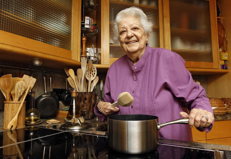 This image taken on May 29, 2012, shows chef Marcella Hazan posing in the kitchen of her Longboat Key, Fla., home. (AP Photo/Chris O'Meara)