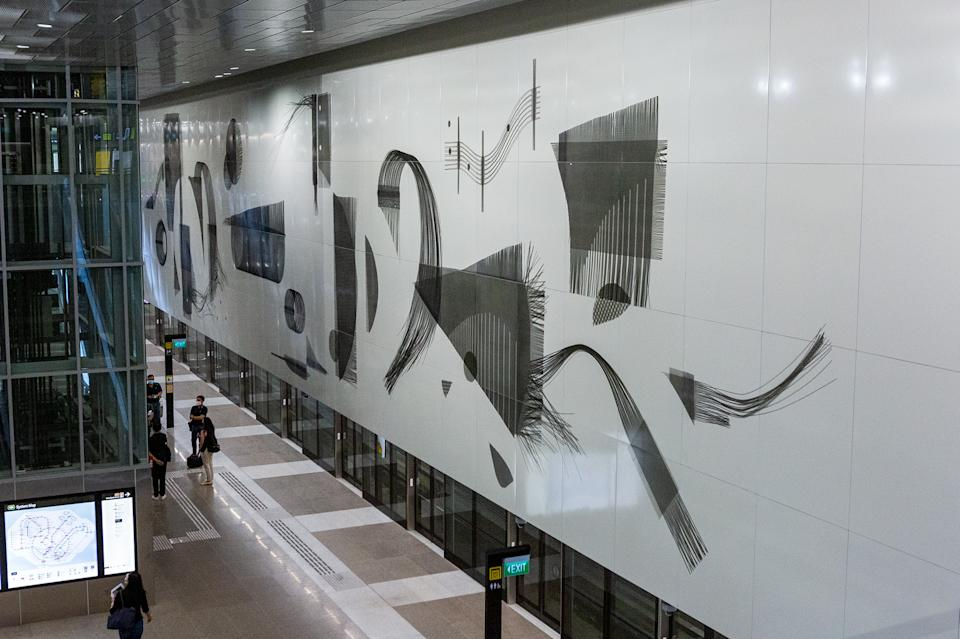 """""""Interlude For Lentor"""" by Tan Guo-Liang at Lentor MRT station. (PHOTO: Dhany Osman / Yahoo News Singapore)"""