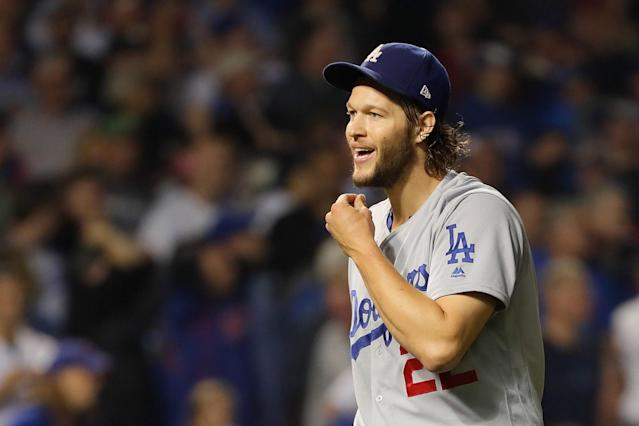 Clayton Kershaw held the Cubs scoreless through his seven innings. (Getty)