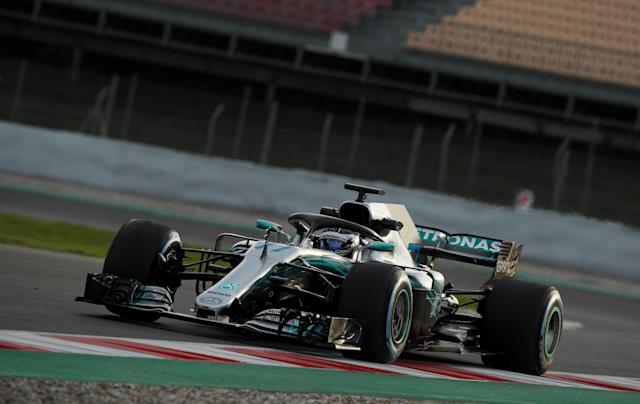 Motor Racing - F1 Formula One - Formula One Test Session - Circuit de Barcelona-Catalunya, Montmelo, Spain - March 9, 2018 Valtteri Bottas of Mercedes during testing REUTERS/Albert Gea