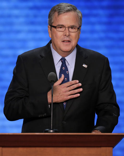 Former Florida Governor Jeb Bush addresses the Republican National Convention in Tampa, Fla., on Thursday, Aug. 30, 2012. (AP Photo/J. Scott Applewhite)