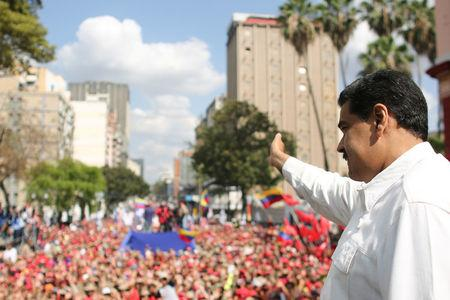 Venezuela's President Nicolas Maduro attends a rally in support of his government in Caracas