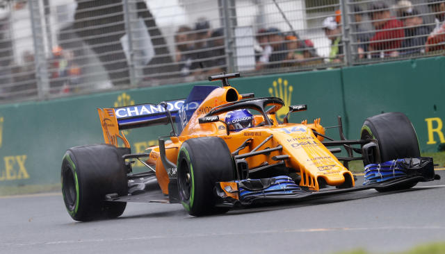 McLaren driver Fernando Alonso of Spain turns a corner during the practice session at the Australian Formula One Grand Prix in Melbourne, Saturday, March 24, 2018. The first race of the 2018 seasons is on Sunday. (AP Photo/Asanka Brendon Ratnayake)
