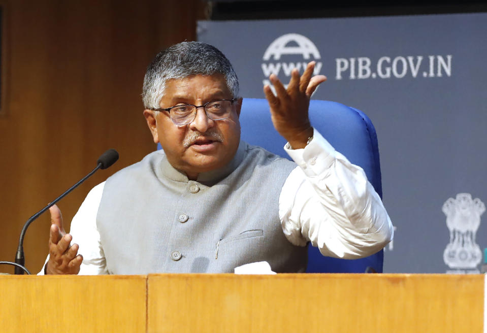 India's Information Technology Minister Ravi Shankar Prasad, addresses a press conference in New Delhi, India, Thursday, Feb. 25, 2021. India on Thursday rolled out new regulations for social media companies and digital streaming websites to make them more accountable for the online content shared on their platforms, giving the government more power to police it. (AP Photo/Manish Swarup)