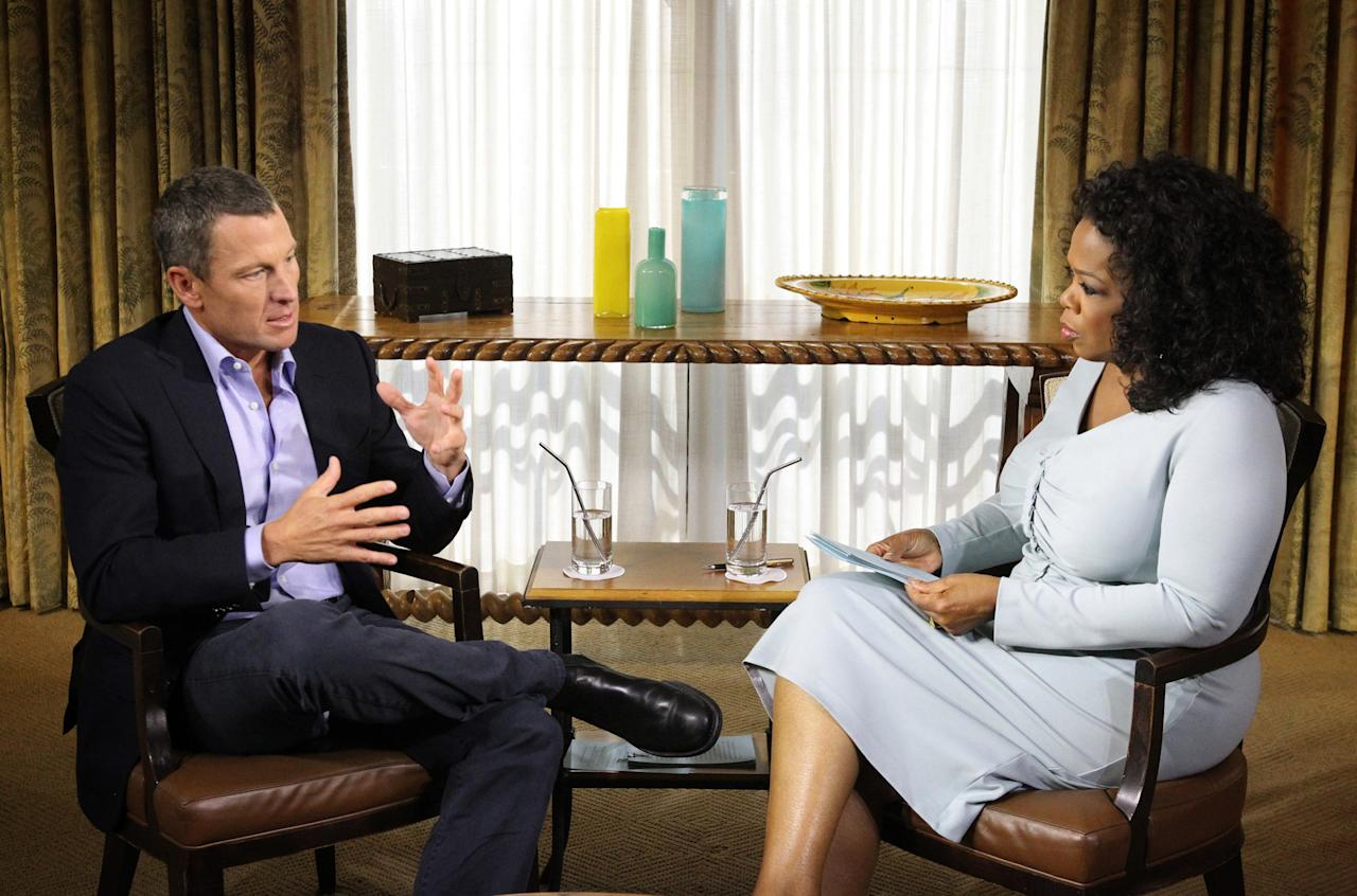 """AUSTIN, TX - JANUARY 14:  In this handout photo provided by the Oprah Winfrey Network, Oprah Winfrey (R) speaks with Lance Armstrong during an interview regarding the controversy surrounding his cycling career January 14, 2013 in Austin, Texas.  Oprah Winfrey's exclusive no-holds-barred interview with Lance Armstrong, """"Oprah and Lance Armstrong: The Worldwide Exclusive,"""" has expanded to air as a two-night event on OWN: Oprah Winfrey Network.  The special episode of """"Oprah's Next Chapter"""" will air Thursday, January 17 from 9-10:30 p.m. ET/PT (as previously announced) and Friday, January 18 at 9 p.m. ET/PT. The interview will be simultaneously streamed LIVE worldwide both nights on Oprah.com.  (Photo by George Burns/Oprah Winfrey Network via Getty Images)"""