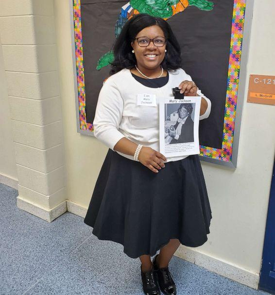 PHOTO: Latoya McGriff disguised as Mary Jackson, an aeronautical engineer who helped develop the NASA space program. (Courtesy of Latoya McGriff)