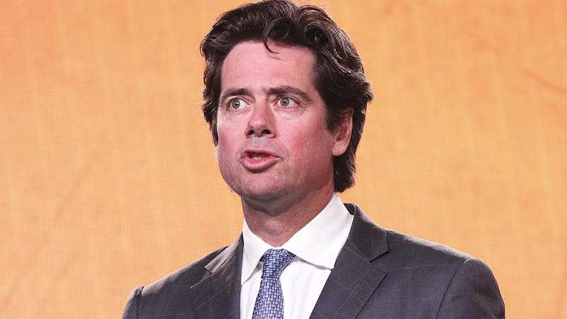 AFL chief Gillon McLachlan copped some gentle mockery for a lengthy speech he gave before the draft. (Photo by Michael Willson/AFL Photos via Getty Images)